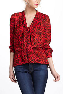 Fire-Bloom Silk Blouse