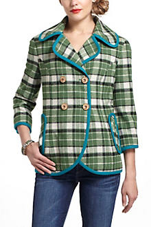 Piped Plaid Coat
