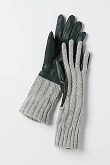 Cabled Leather Gloves