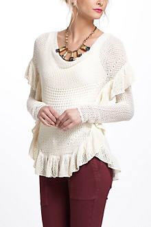 Ruffled Crochet Pullover