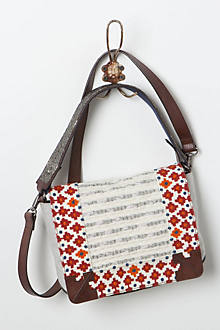 Embroidered Border Satchel
