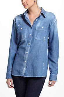 Chambray Work Shirt With Repair