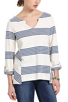 Pick-Stitched Striped Pullover