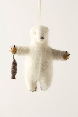 Felted Polar Bear Ornament