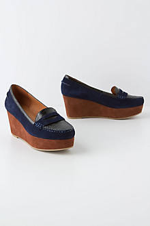 Stacked Loafer Wedges, Blue