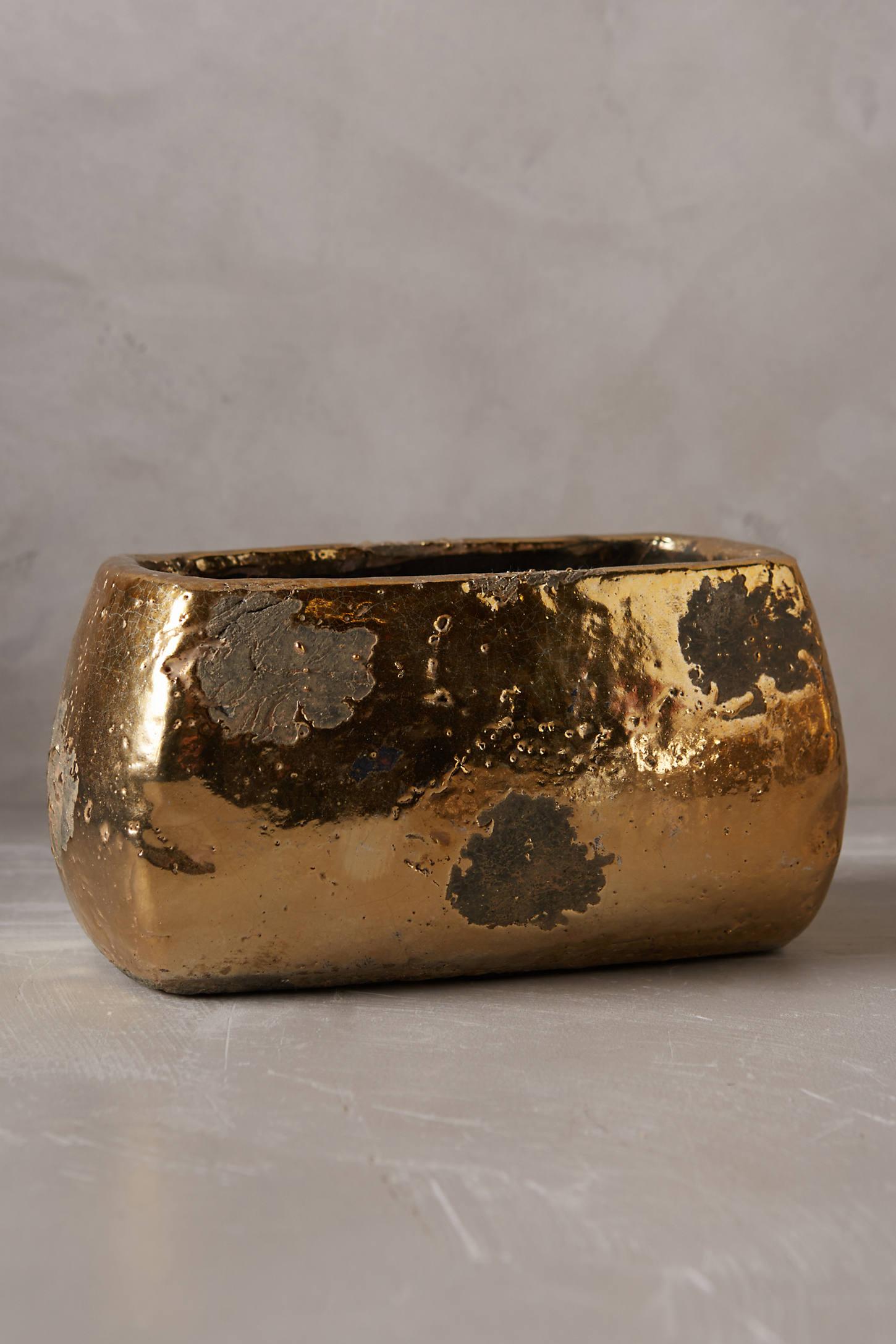 Metallic Crackle Herb Pot