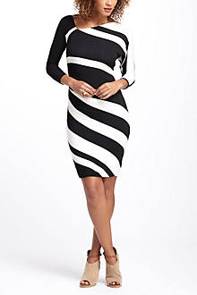 Ruched Stripes Column Dress
