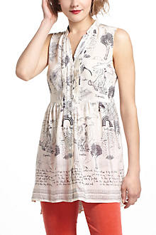 Illustrated Silk Tunic