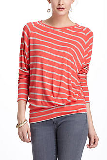 Striped Thin-Ribbed Boatneck