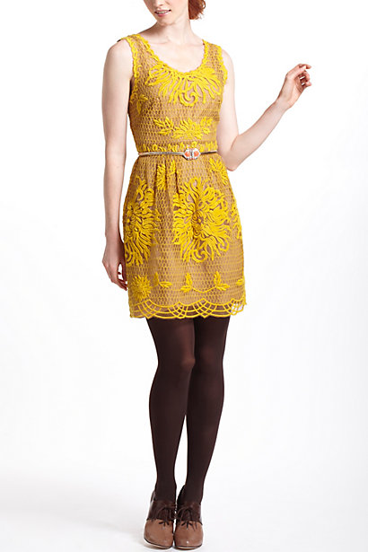 Anthropologie honeycomb lace dress