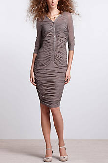 Ruched Gauze Column Dress