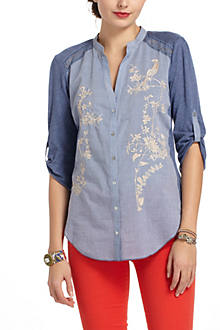 Embroidered Partridge Buttondown