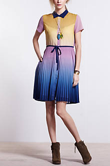 Ombre Pleated Shirtdress