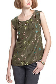 Notched Sleeveless Blouse