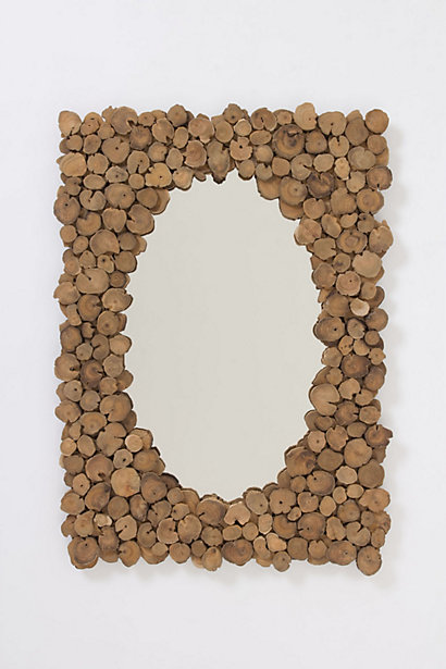 Sliced Teak Mirror