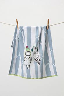 Fair Isle Forest Dishtowel, Owl