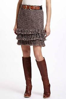 Fringed Hem Sweater Skirt