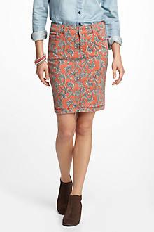 Pilcro Paisley Denim Pencil Skirt