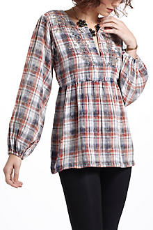 Embroidered Tartan Peasant Blouse