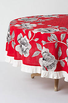 Sketched Cotton Roses Tablecloth
