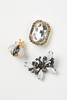 Crystalline Bug Brooch Set