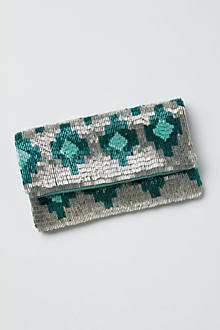 Hand-Beaded Ikat Clutch