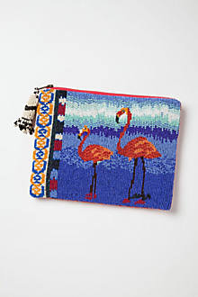 Handbeaded Flamingo Clutch