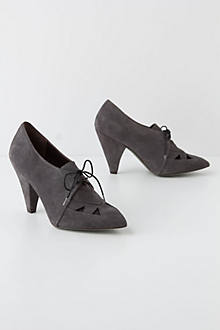 Angled Cuts Heeled Oxfords
