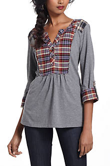 Plaid Placket Henley