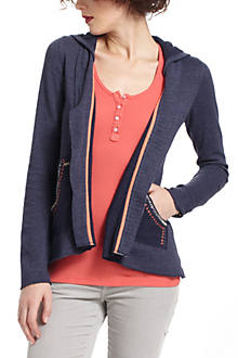 Tack-Stitch Hooded Cardigan
