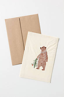 Embroidered Tinsel Bear Card