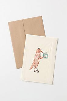 Embroidered Santa-Fox Card