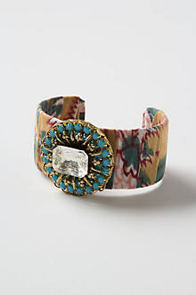 Fabric Collage Jeweled Cuff