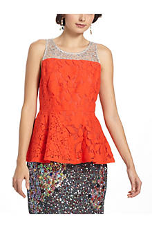 Glitzen Lace Peplum Top