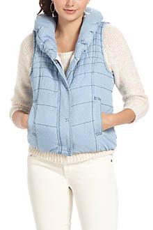 Pindot Chambray Puffer Vest