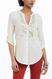 Sequined Placket Henley
