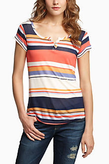 Stripe-Notched Scoop Tee