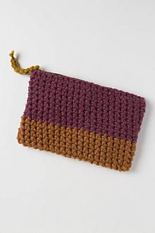 Handknit Colorblock Pouch