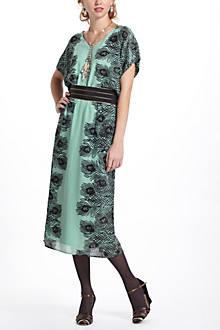 Plumes Kimono Midi Dress