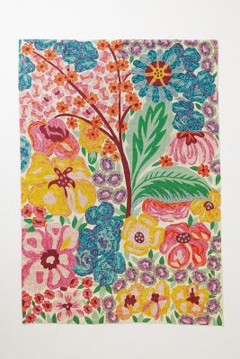 Hand-Embroidered Giverny Rug