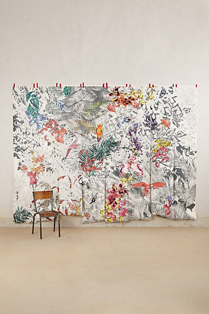 Anthropologie 298 garden tropics birds of paradise mural 9x12 for Bird mural wallpaper