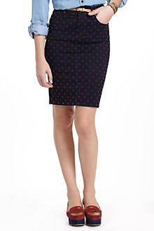 Pilcro Dotted Denim Pencil Skirt