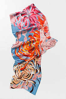 Abstract Chrysanthemum Handpainted Scarf