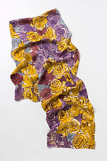 Autumn Roses Handpainted Scarf
