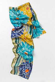 Blue Gerbera Daisy Handpainted Scarf
