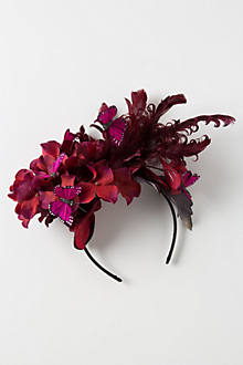 Burgundy Feathered Fascinator