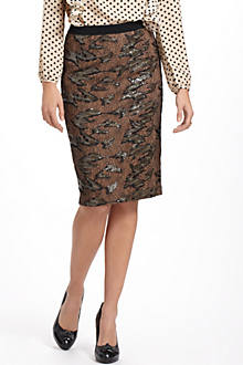 Shimmered Lace Pencil Skirt
