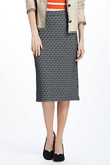 Geotile Intarsia Pencil Skirt
