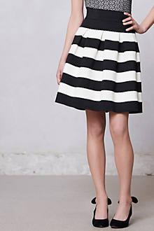 Scalloped Stripes Ponte Skirt