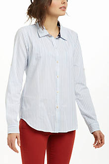 Pintucked Striped Buttondown
